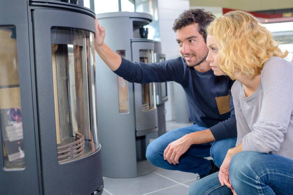 couple choosing the furnace unit