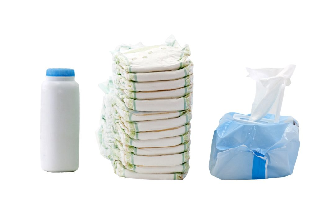 baby disposable diapers and powder