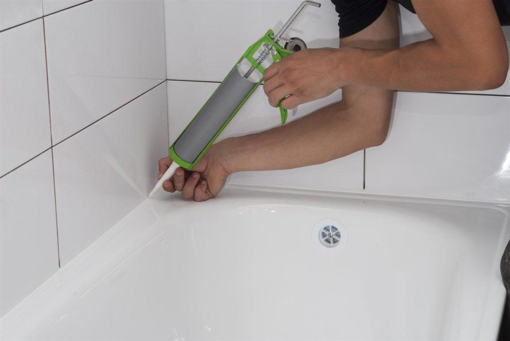 bathroom caulking applying silicone