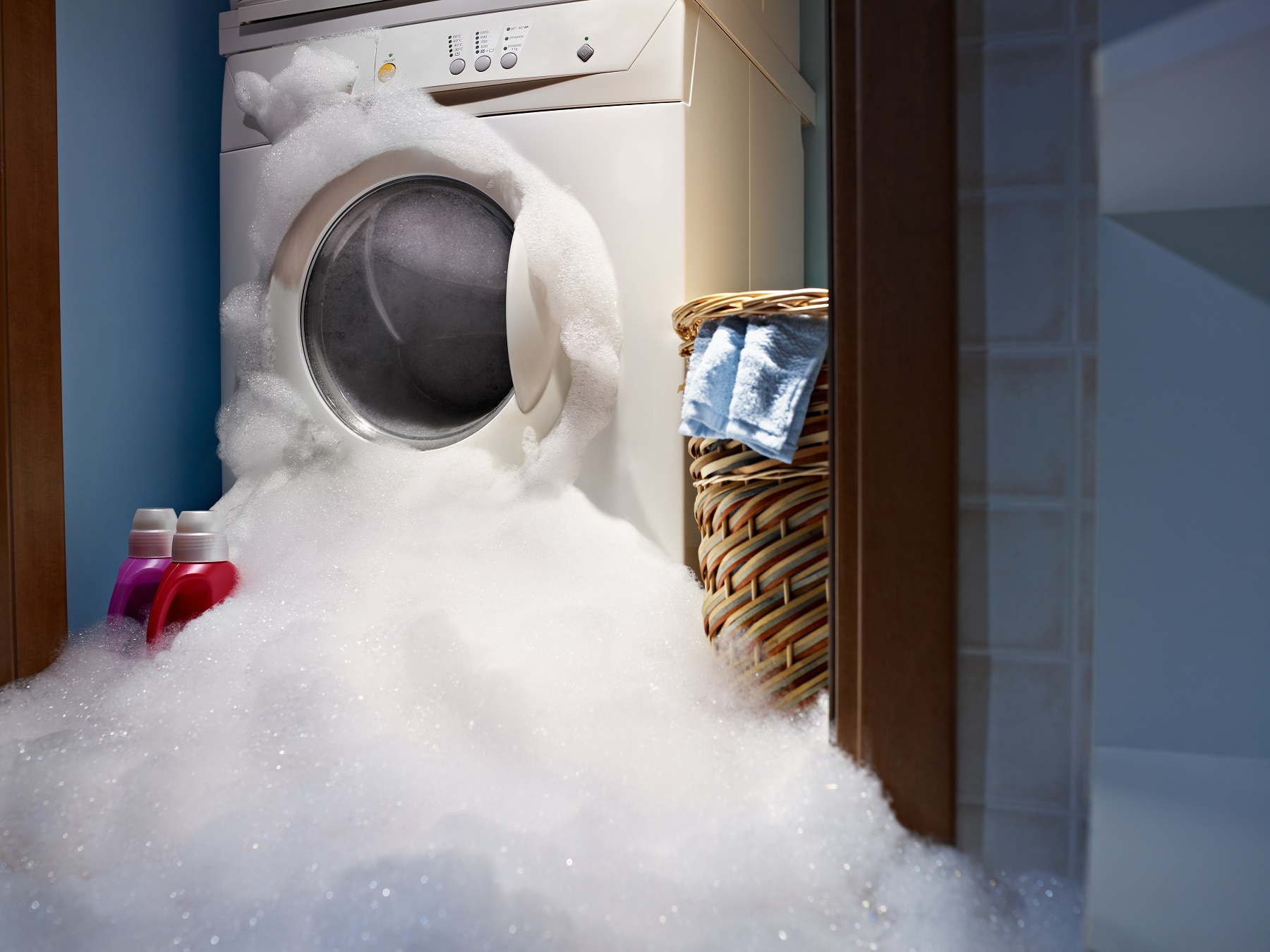 soap coming out from broken washing machine