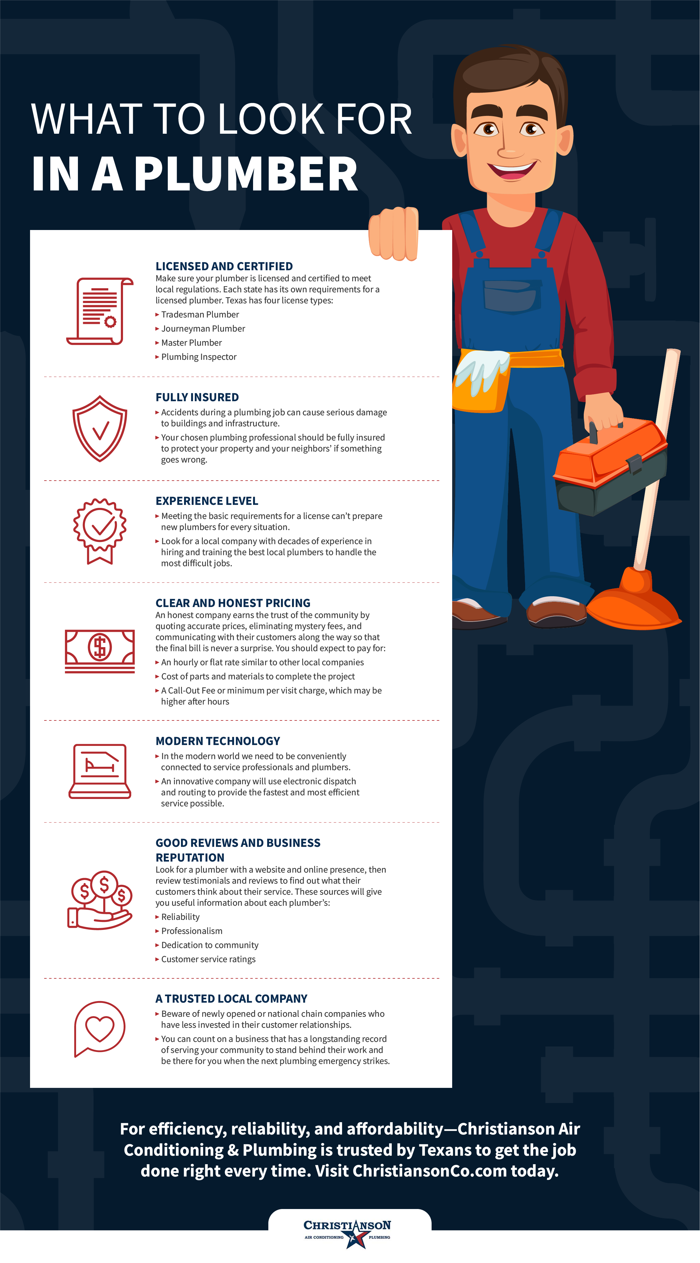 Things to Look For When Choosing a Plumber Infographic